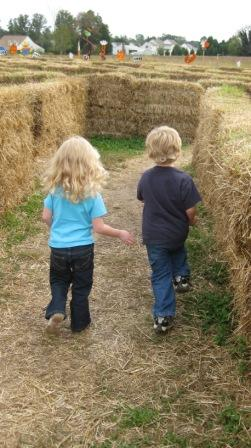 My twins taking on a hay maze.